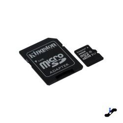 Micro SD 16GB clase 10 Kingston con adaptador 80mb